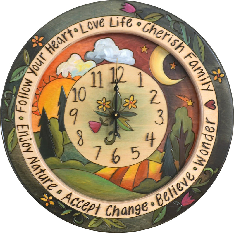 "14"" Round Wall Clock –  Contemporary landscape themed clock with sun and moon motif"