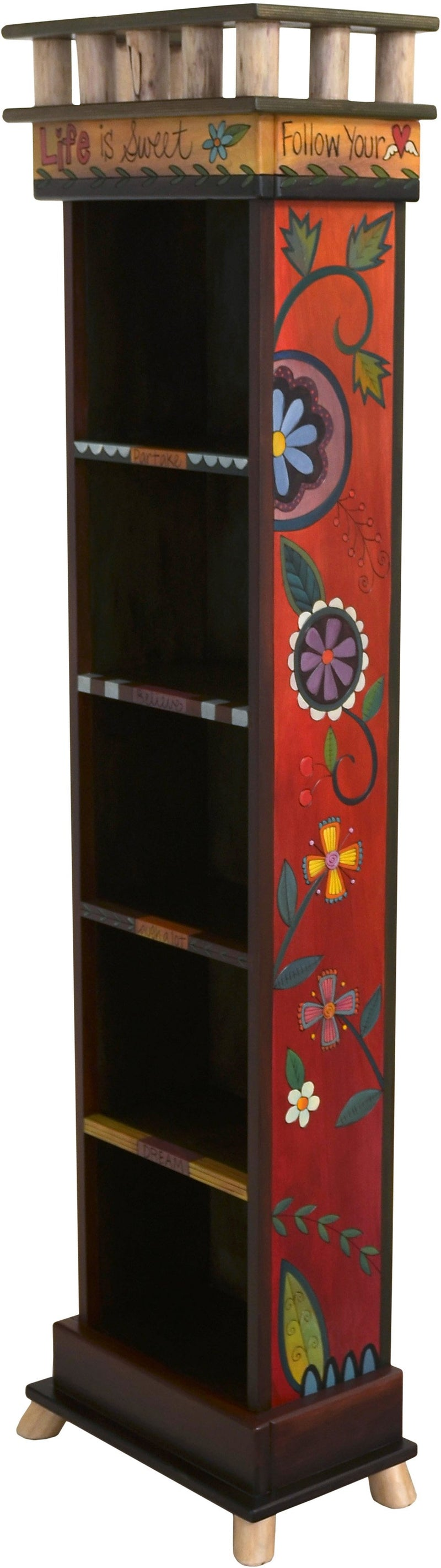 Tall Bookcase –  Lovely and warm bookcase with floral motifs painted in rich hues