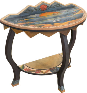 "Small Half Round Table –  ""Count not the Months but the Moments"" half round table with sun setting over the water with a sailboat motif"