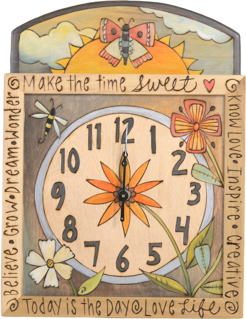 Square Wall Clock –  Lovely and elegant neutral palette wall clock with floral motifs and sunrise