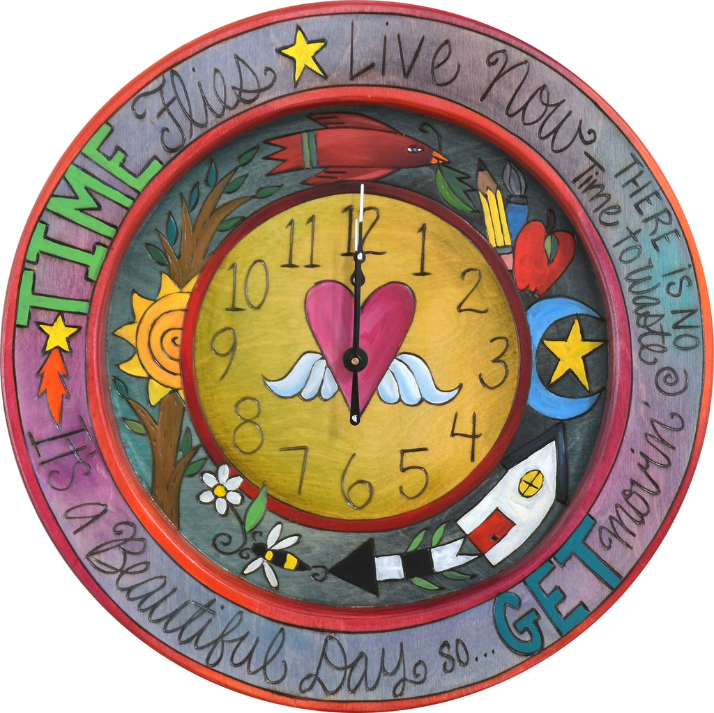 "14"" Round Wall Clock –  Colorful round wall clock with a heart with wings at its center"