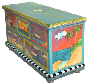"Medium Dresser –  ""Follow your Heart"" dresser with sunny beach themed motif"