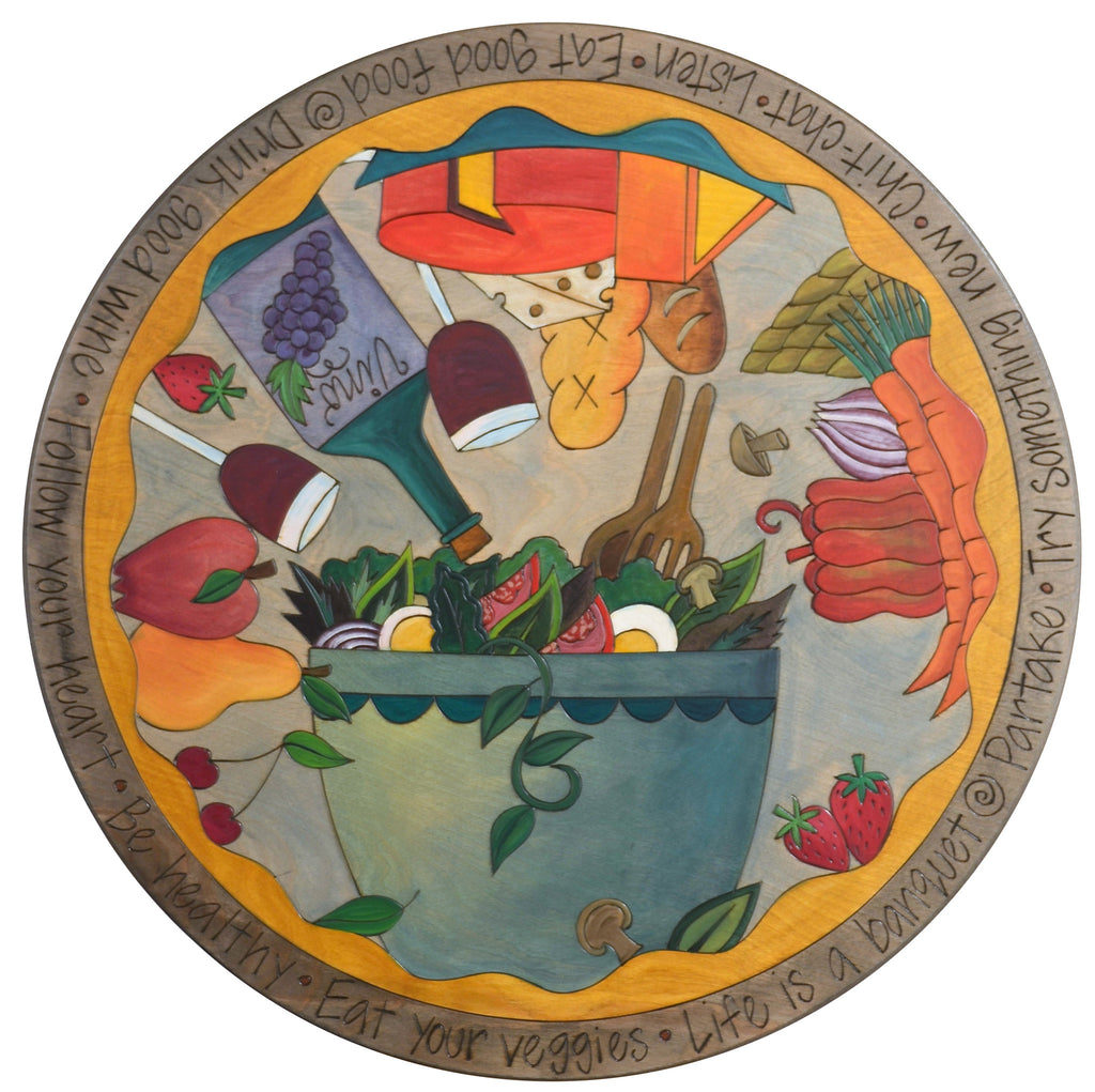 "Sticks Handmade 24""D lazy susan with salad bowl, fruit, vegetables, wine and cheese"