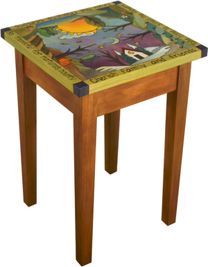 Small Square End Table –  Handsome square end table with rolling four seasons landscape painted in the round