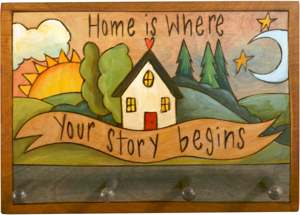 "Horizontal Key Ring Plaque –  Beautiful landscape key ring plaque with sun and moon motif, ""Home is Where Your Story Begins"""