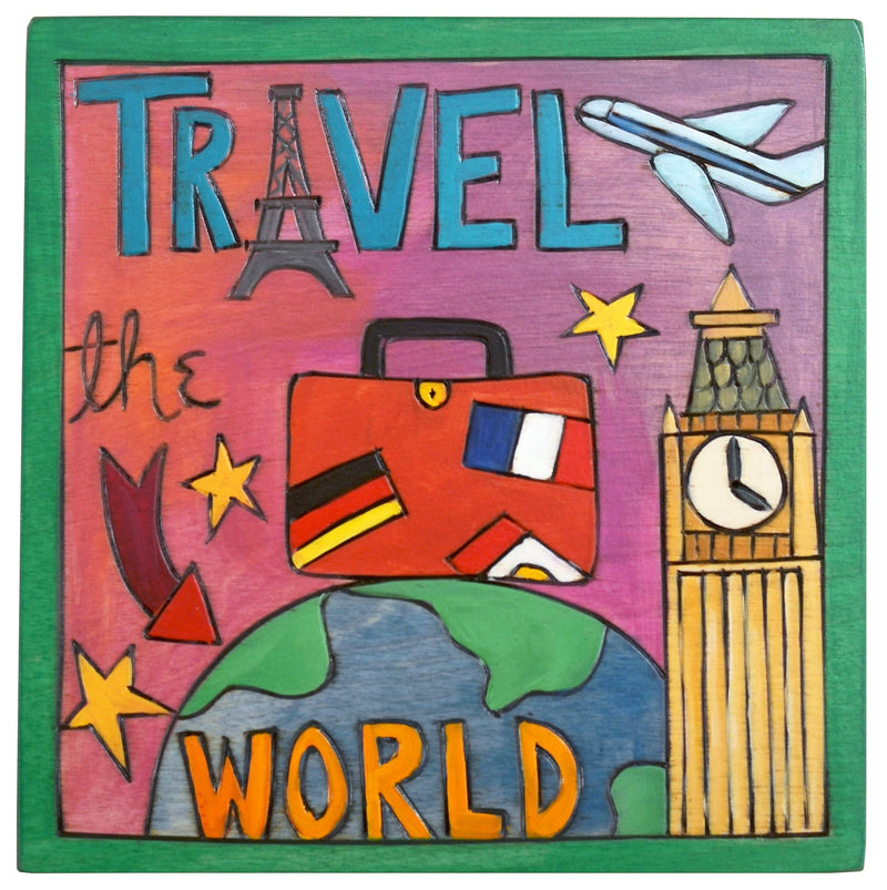 "Sticks handmade wall plaque with ""Travel the World"" quote and imagery"