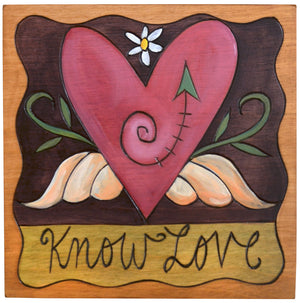 "7""x7"" Plaque –  ""Know love"" lovely pink heart with wings motif"
