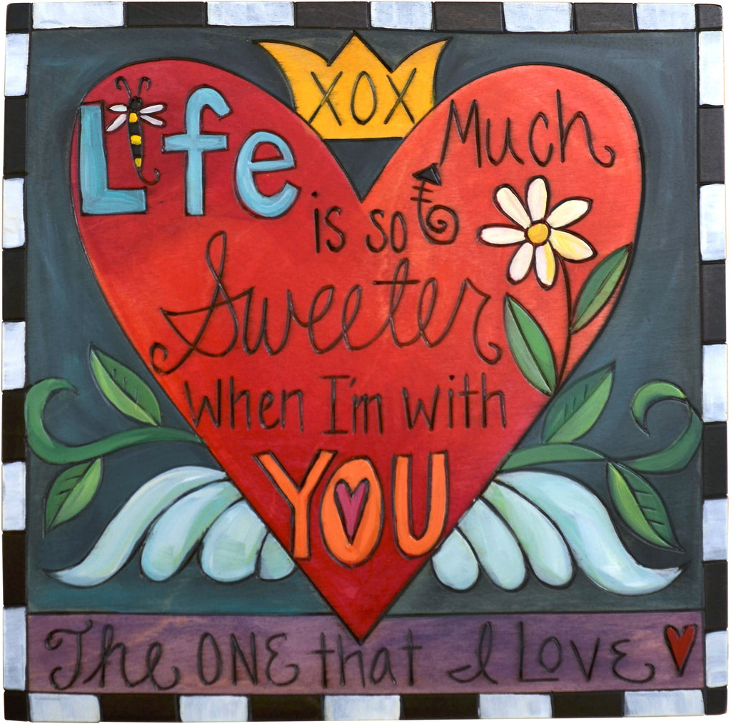 "10""x10"" Plaque –  ""The one that I love"" heart with wings and sweet nothings motif"