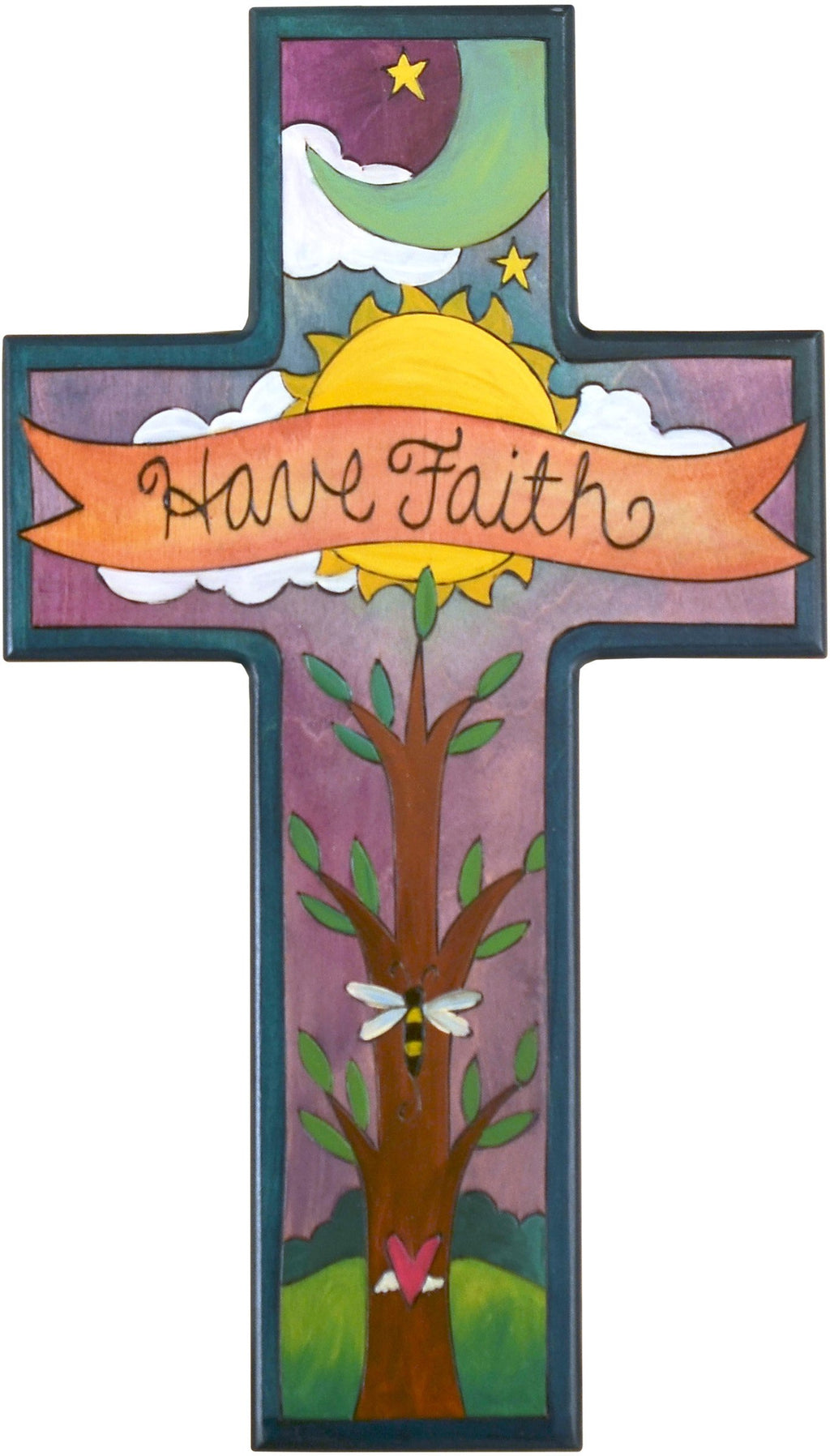 Cross Plaque –  Have Faith cross plaque with sun, moon and tree motif