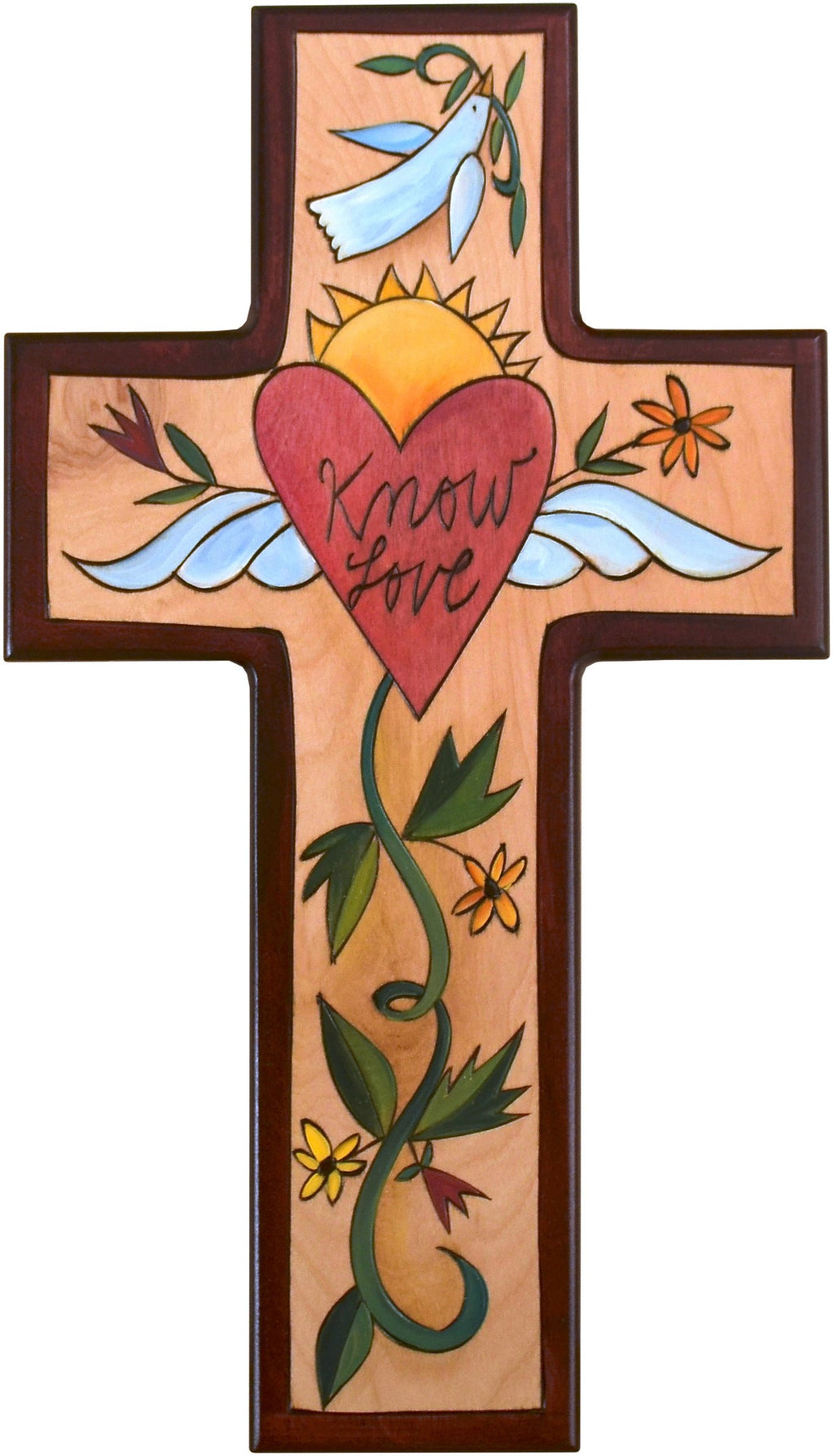 Cross Plaque –  Know Love cross plaque with heart and flower motif
