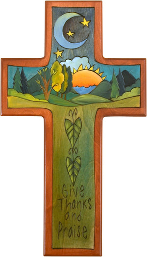Cross Plaque –  Give Thanks and Praise cross plaque with sunset and moon motif