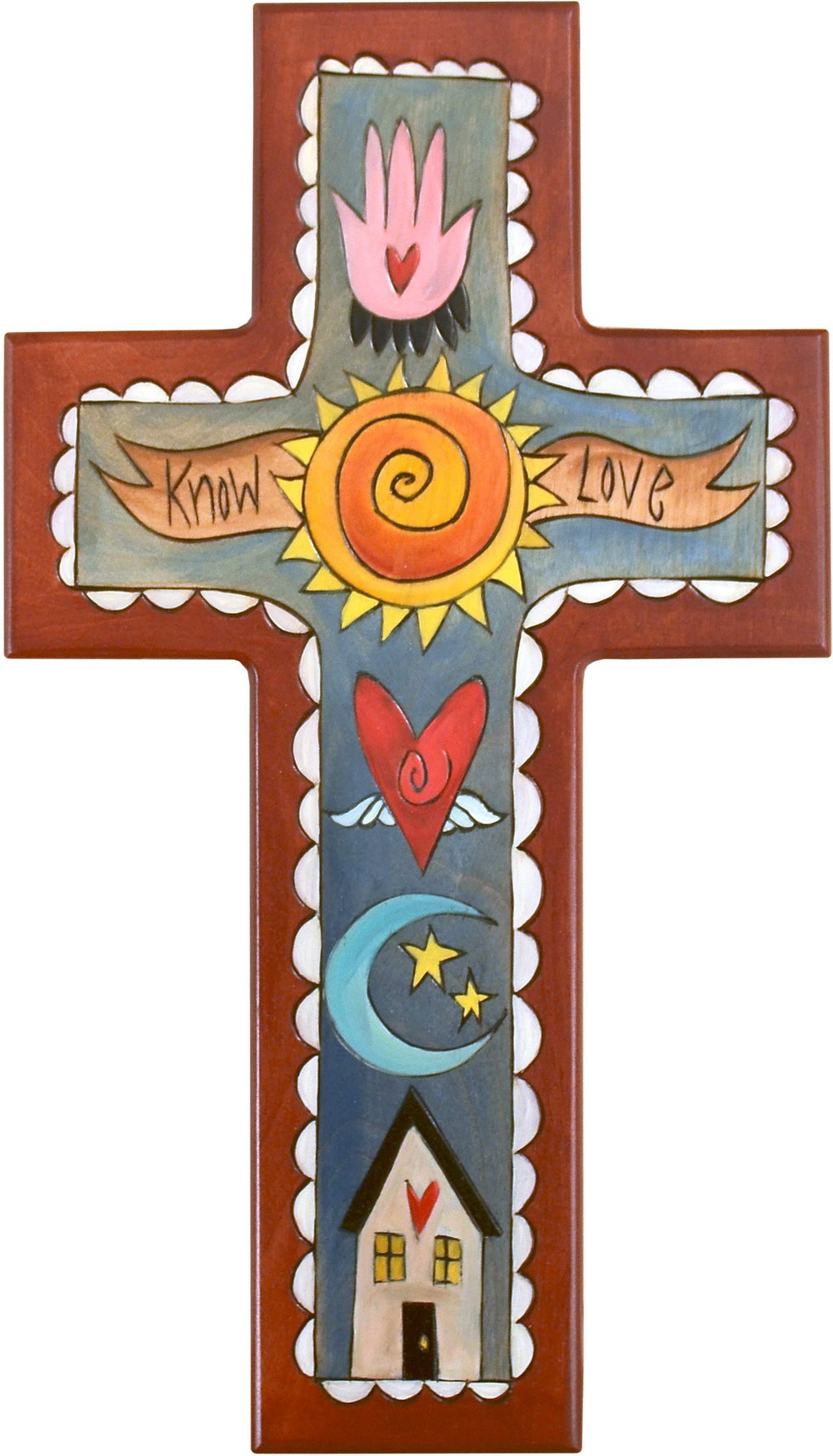 Cross Plaque –  Know Love cross plaque with home, moon and sun motif
