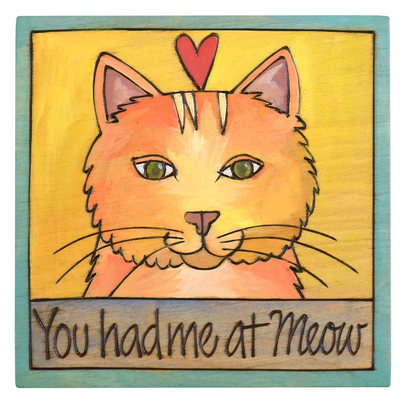 "Sticks handmade wall plaque with ""You had me at Meow"" quote and cute orange tabby cat"