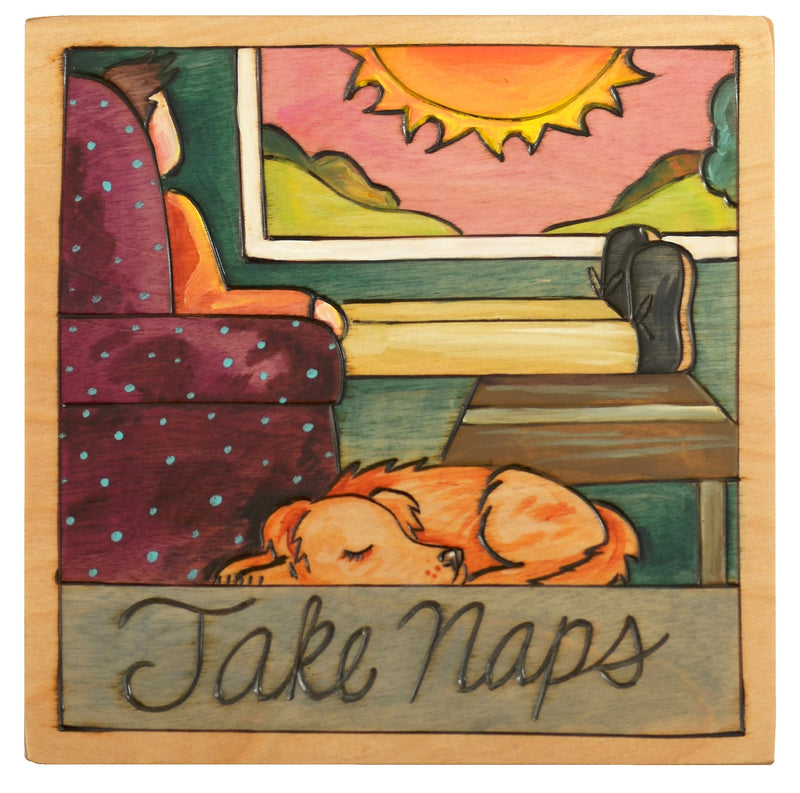 "Sticks handmade wall plaque with ""Take Naps"" quote and sleeping dog"