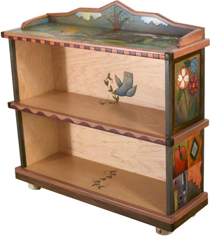Short Bookcase –  Beautiful bookcase with tree of life motif, floral elements and colorful block icons