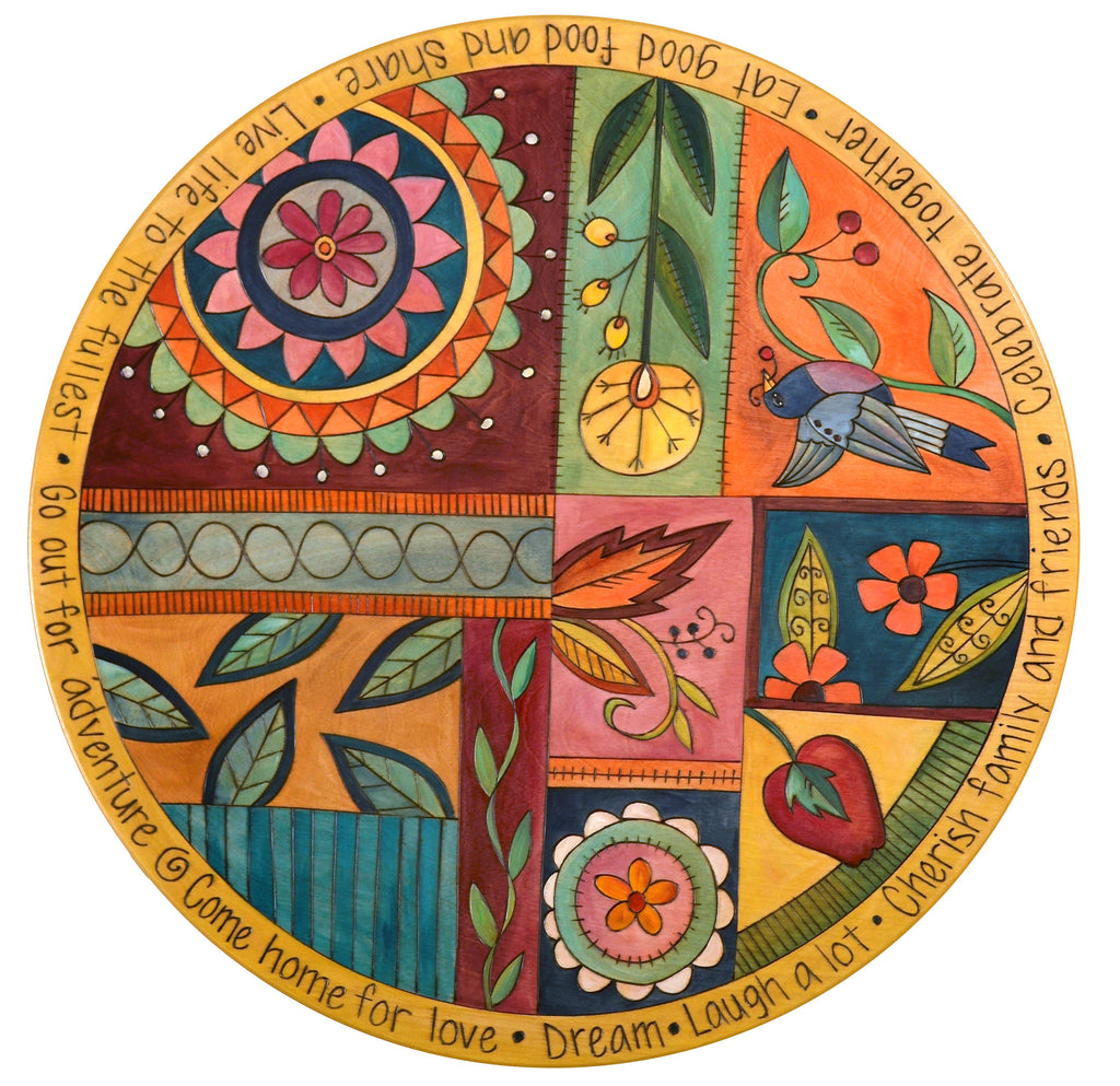 "Sticks Handmade 24""D lazy susan with wild floral quilt pattern"