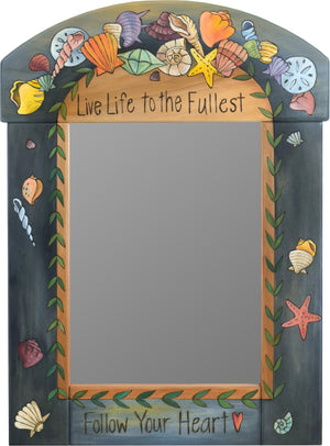 "Medium Mirror –  ""Live Life to the Fullest"" mirror with nautical seashell motif"