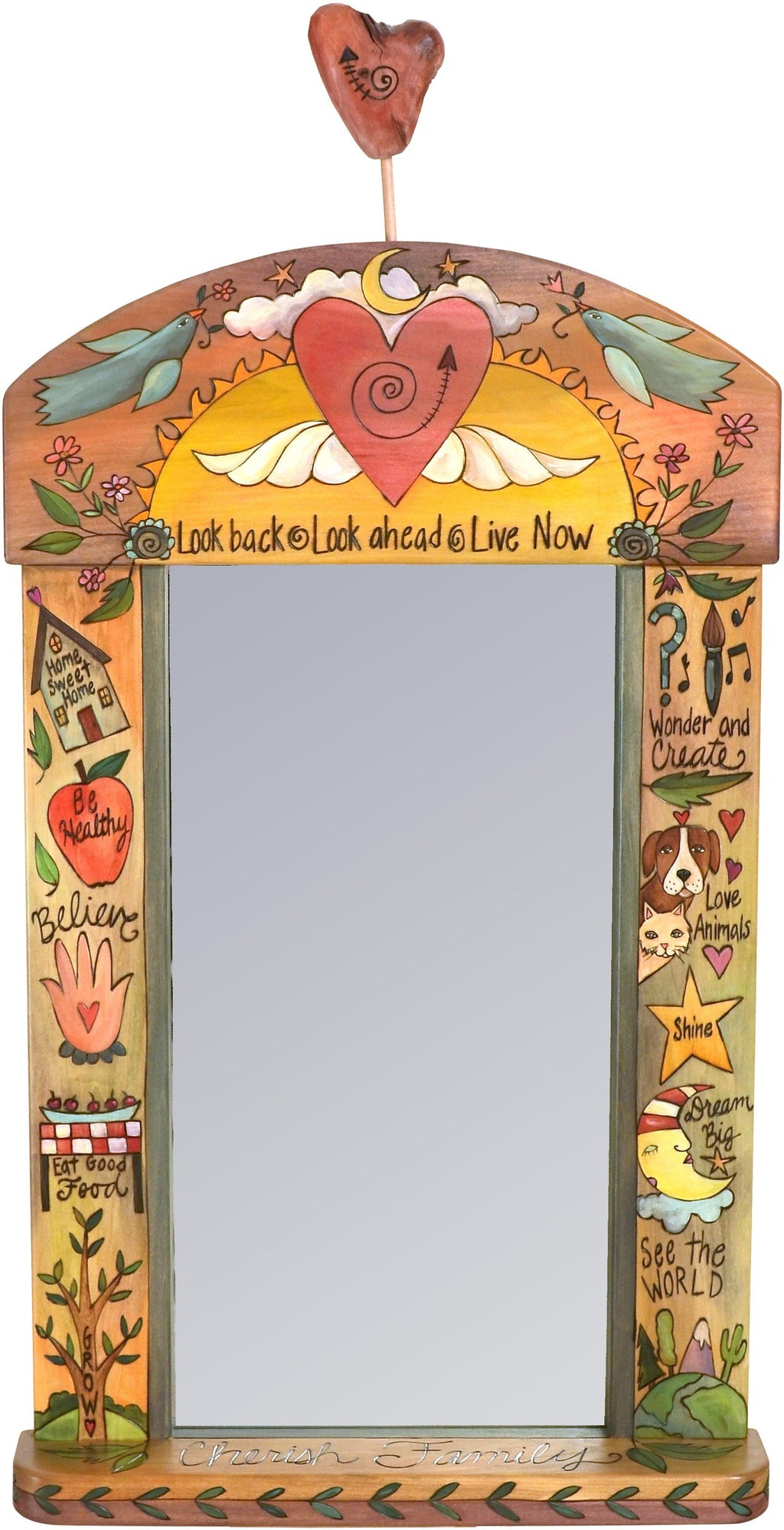 "Large Mirror –  ""Look Back/Look Ahead/Live Now"" mirror with heart and wings motif"