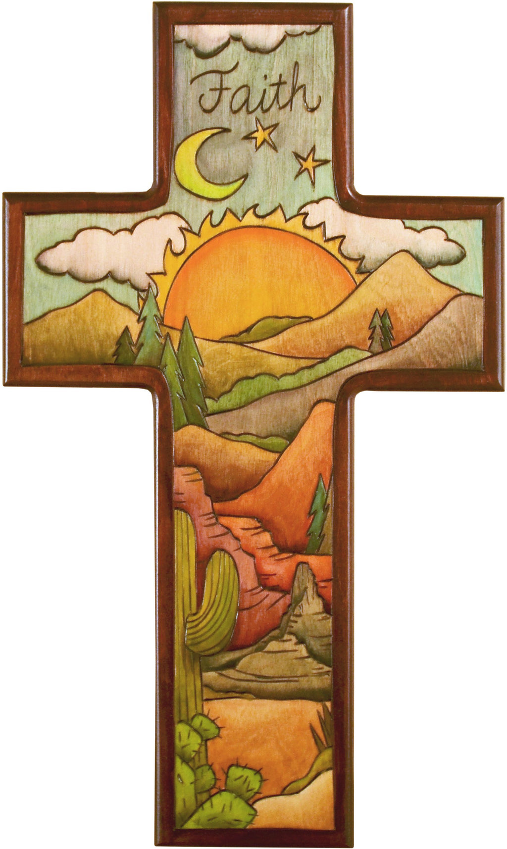 Cross Plaque –  Faith cross plaque with sunset on the desert motif
