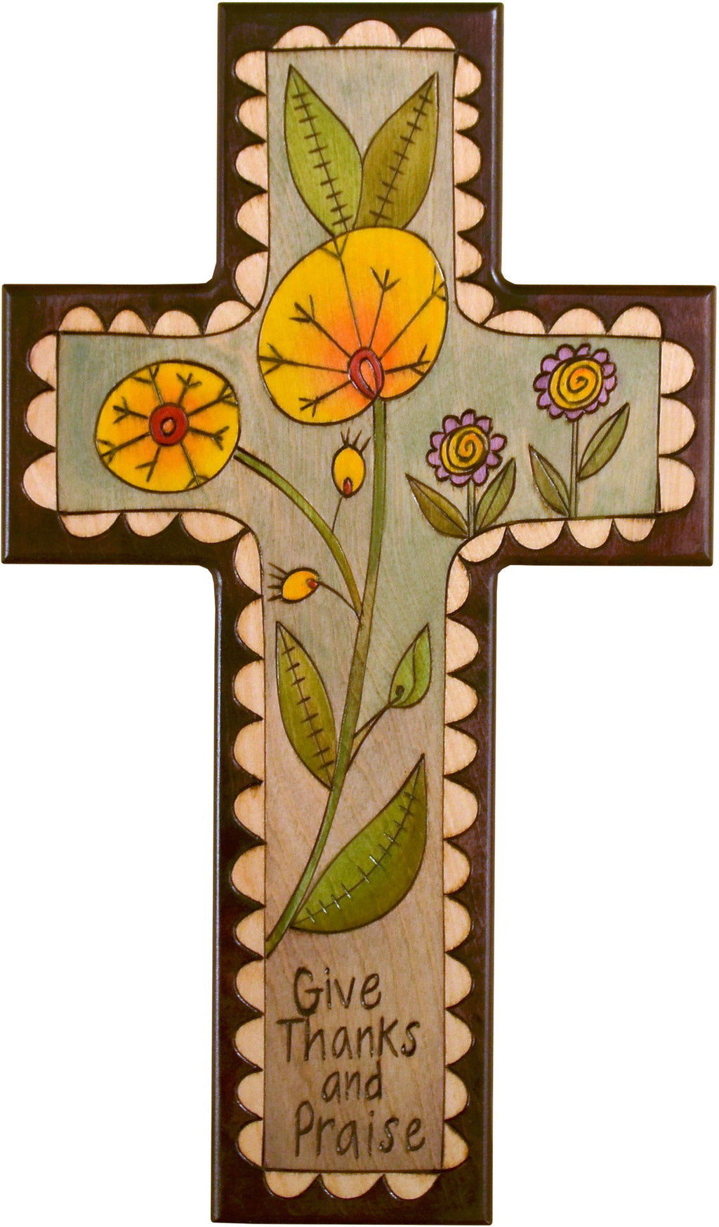Cross Plaque –  Give Thanks and Praise cross plaque with floral motif