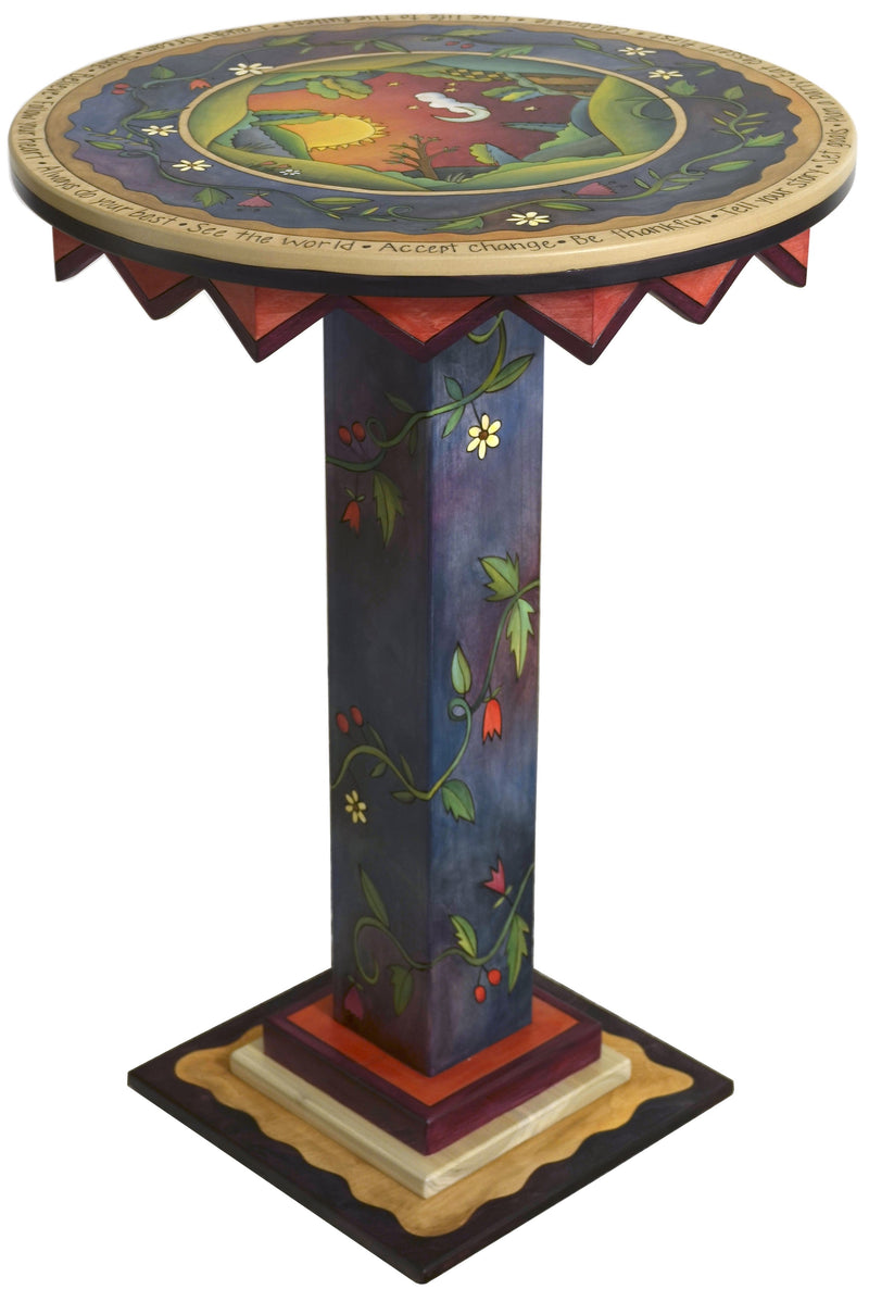 "Bar Height Table –  ""See the World"" bar height table with warm sunset over the rolling hills motif"