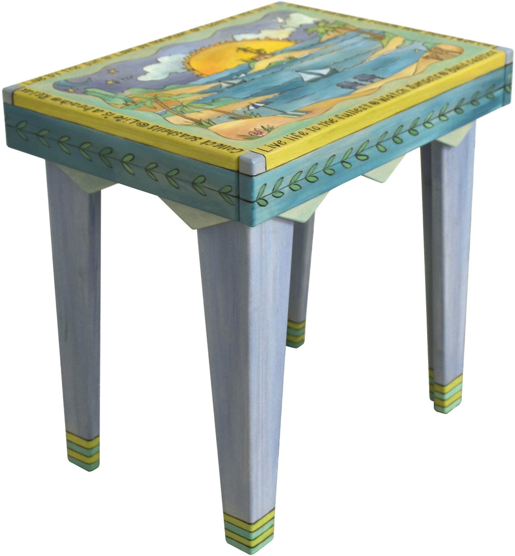 Rectangular End Table –  Aqua toned end table with coastal themes, beaches, and sailboats