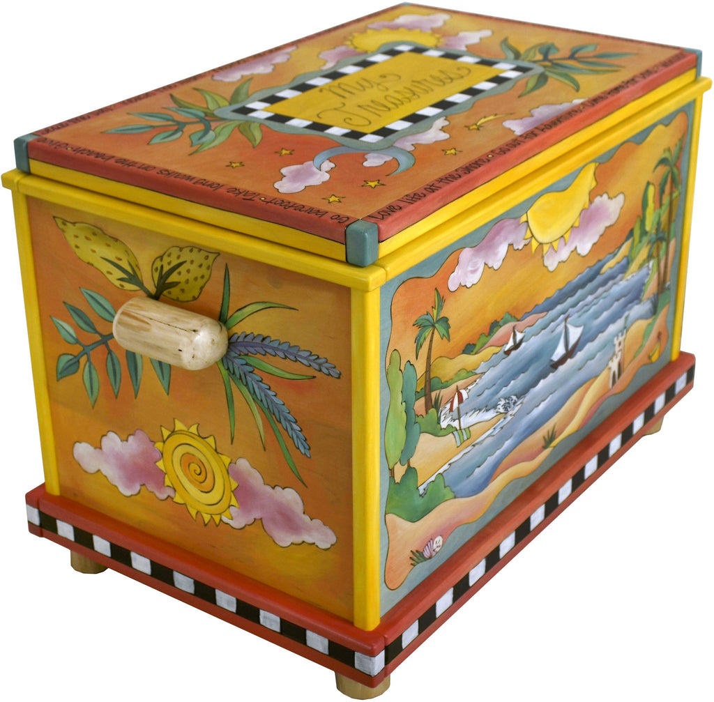 "Chest –  ""My Treasures"" chest with beach and lake motif"