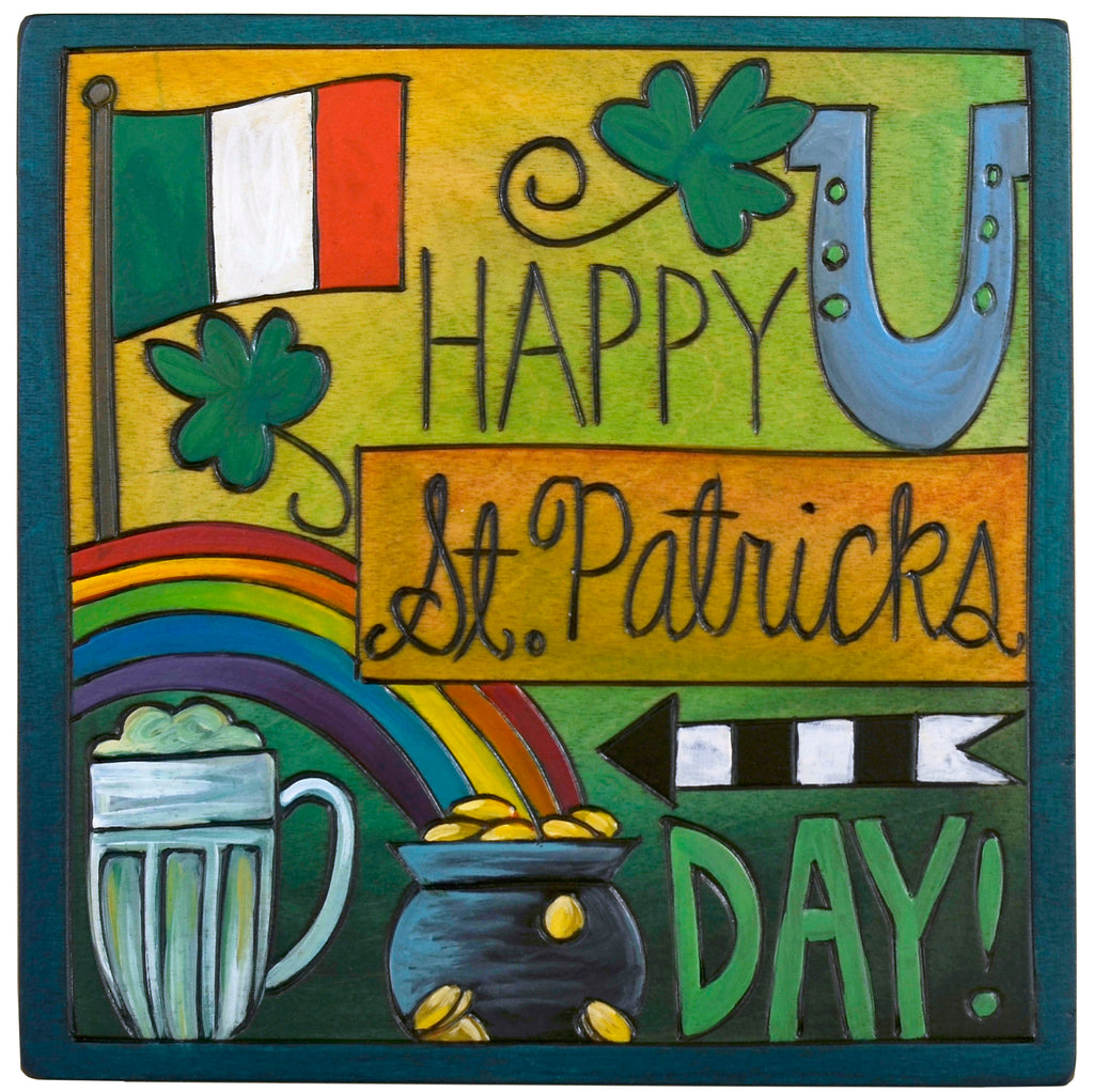 """Happy St. Patrick's Day"" plaque with lucky themed imagery"