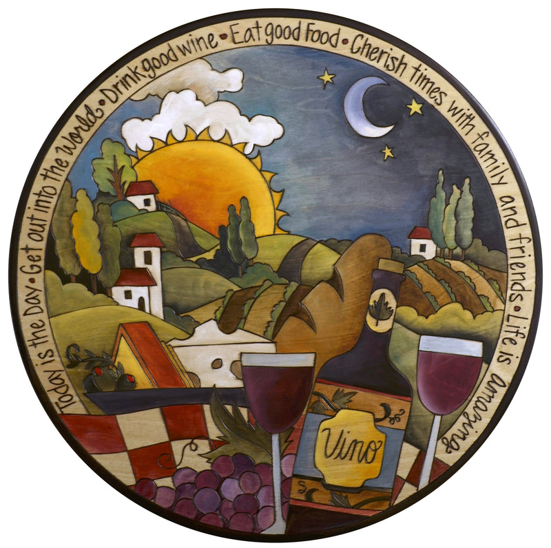 "Sticks Handmade 20""D lazy susan with Tuscan landscape and evening wine"