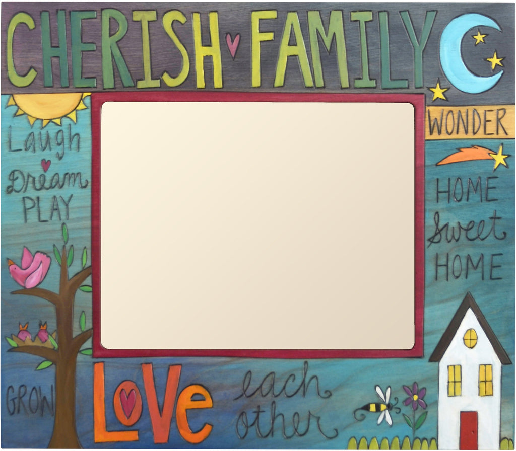 "8""x10"" Frame –  Cherish Family/Love Each other frame with home sun and moon motif"