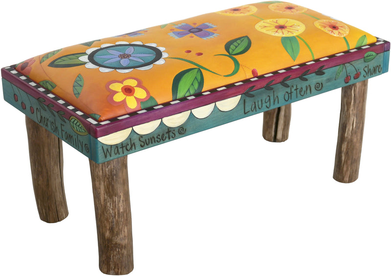 Sticks handmade 3' bench with leather floral design
