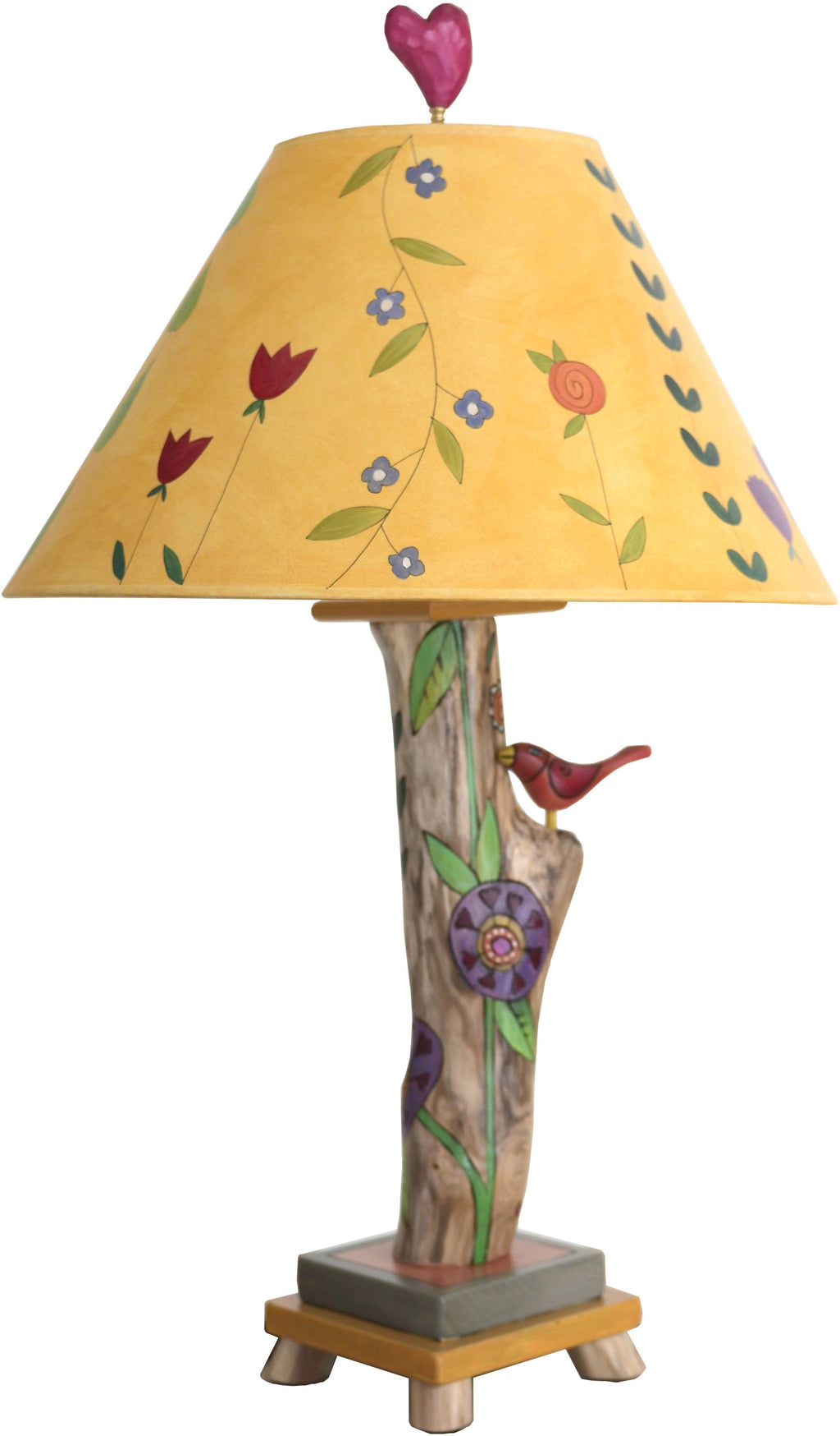 Log Table Lamp –  Elegant little table lamp with vine and floral motifs