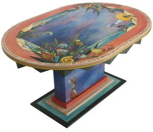 "Oval Dining Table with Leaf –  ""Eat Good Food and Share"" dining table with leaf with beautiful night time sky over the water motif"