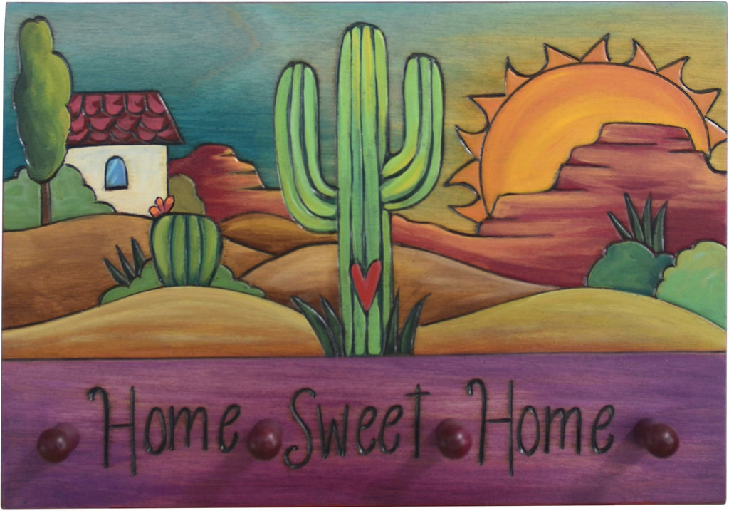 "Horizontal Key Ring Plaque –  Beautiful desert key ring plaque with cacti and sunrise, ""Home Sweet Home"""