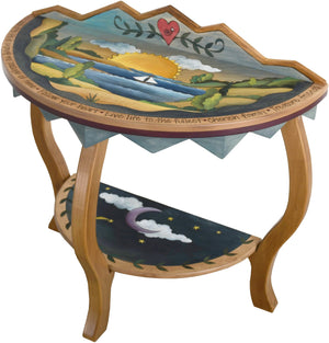 Small Half Round Table –  Beautiful half round table with coastal themes