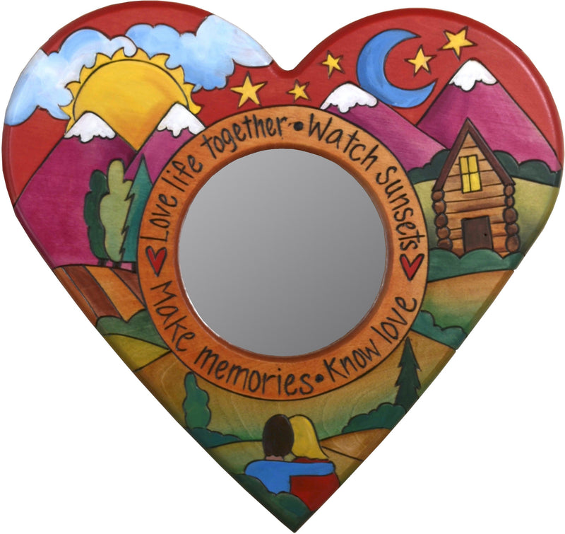 "Heart Shaped Mirror –  ""Love Life Together"" heart-shaped mirror with couple watching the sunset on the mountains motif"