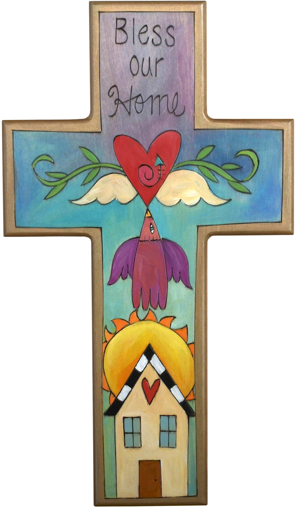 Cross Plaque –  Bless our Home cross plaque with home and sky motif