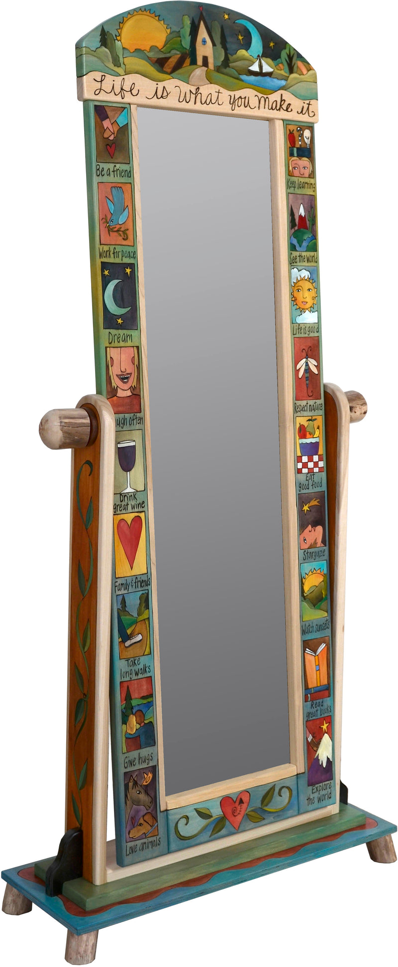 "Wardrobe Mirror on Stand –  ""Life is what you Make it"" mirror on stand with sun and moon over cozy cottage in the rolling hills motif"
