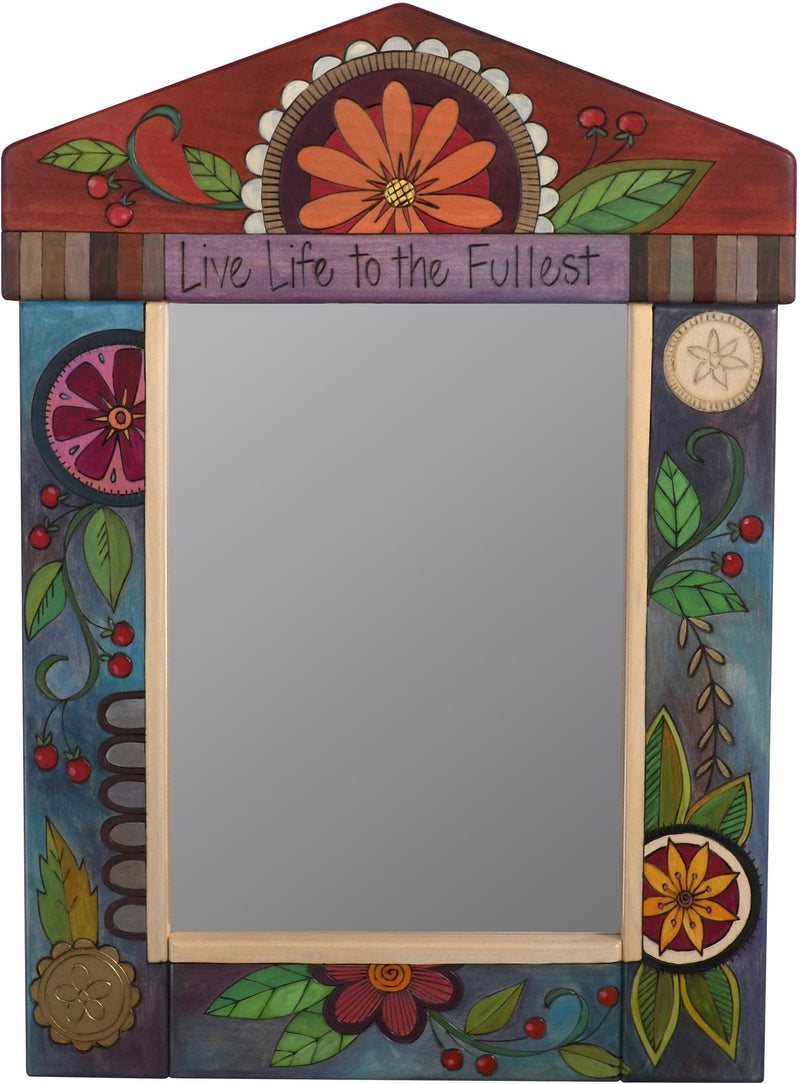 "Medium Mirror –  ""Live Life to the Fullest"" mirror with contemporary floral motif"