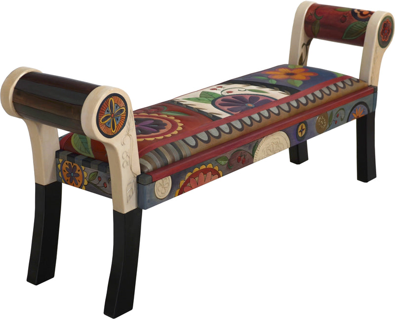 Rolled Arm Bench with Leather Seat –  Beautifully colorful rolled arm bench with leather seat with fun contemporary floral motif