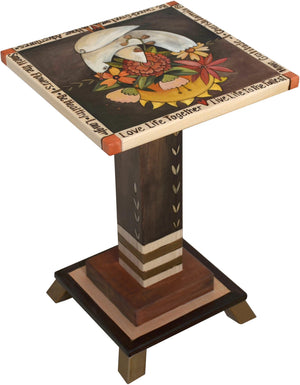 Martini End Table –  Lovely end table with dove and floral motifs