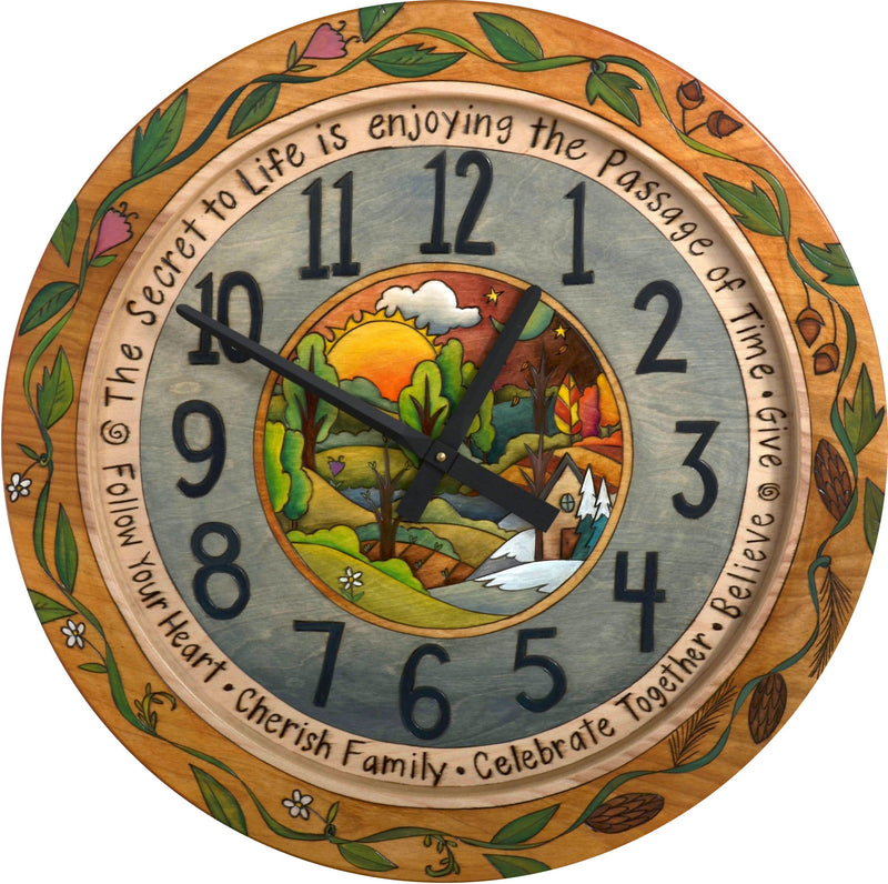 "Sticks handmade 24""D wall clock with rolling four seasons landscape"