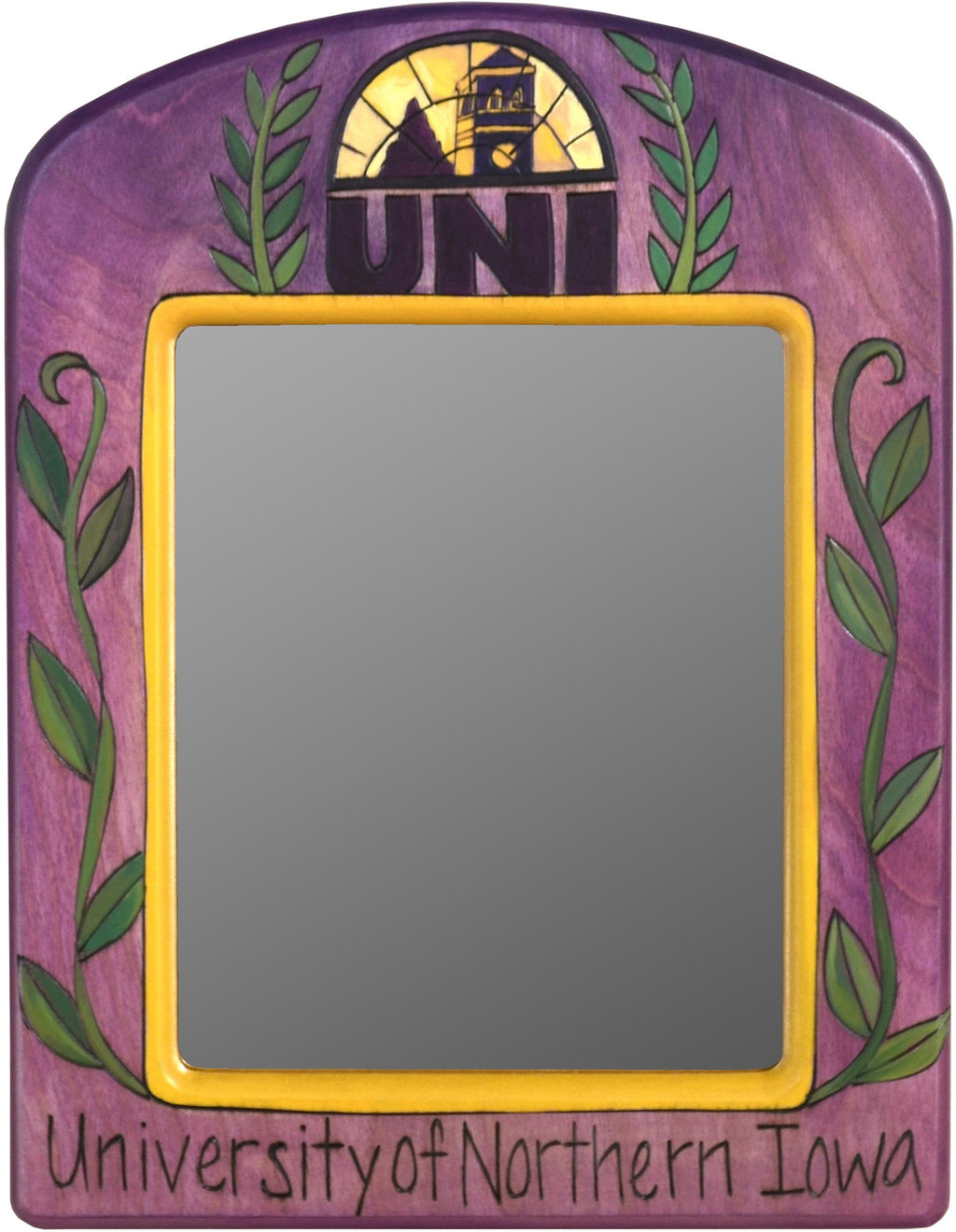 "University of Northern Iowa 12""x16"" Extra Small Mirror –  Lovely little mirror honoring the University of Northern Iowa"