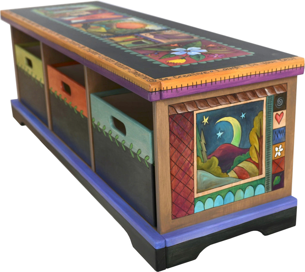 "Storage Bench with Boxes –  ""Cherish Family/Treasure Friends"" storage bench with boxes with sun and moon over the mountains motif"