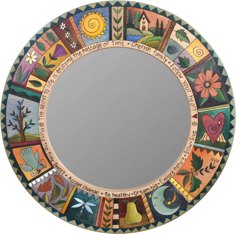 Large Circle Mirror –  Beautiful eclectic mirror with symbolic and colorful block icons