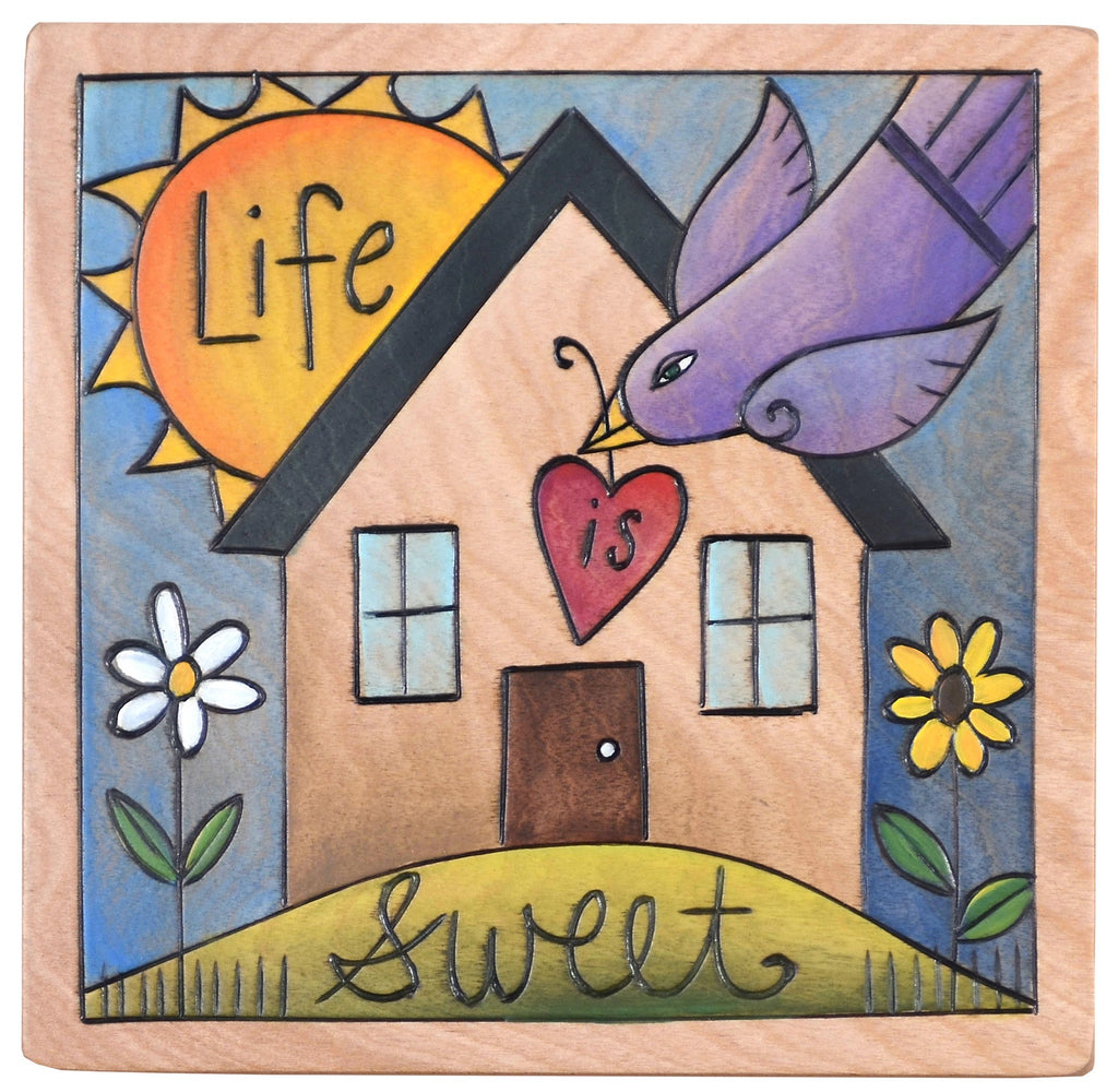 "Sticks handmade wall plaque with ""Life is Sweet"" quote, bird with heart and a sunny home"