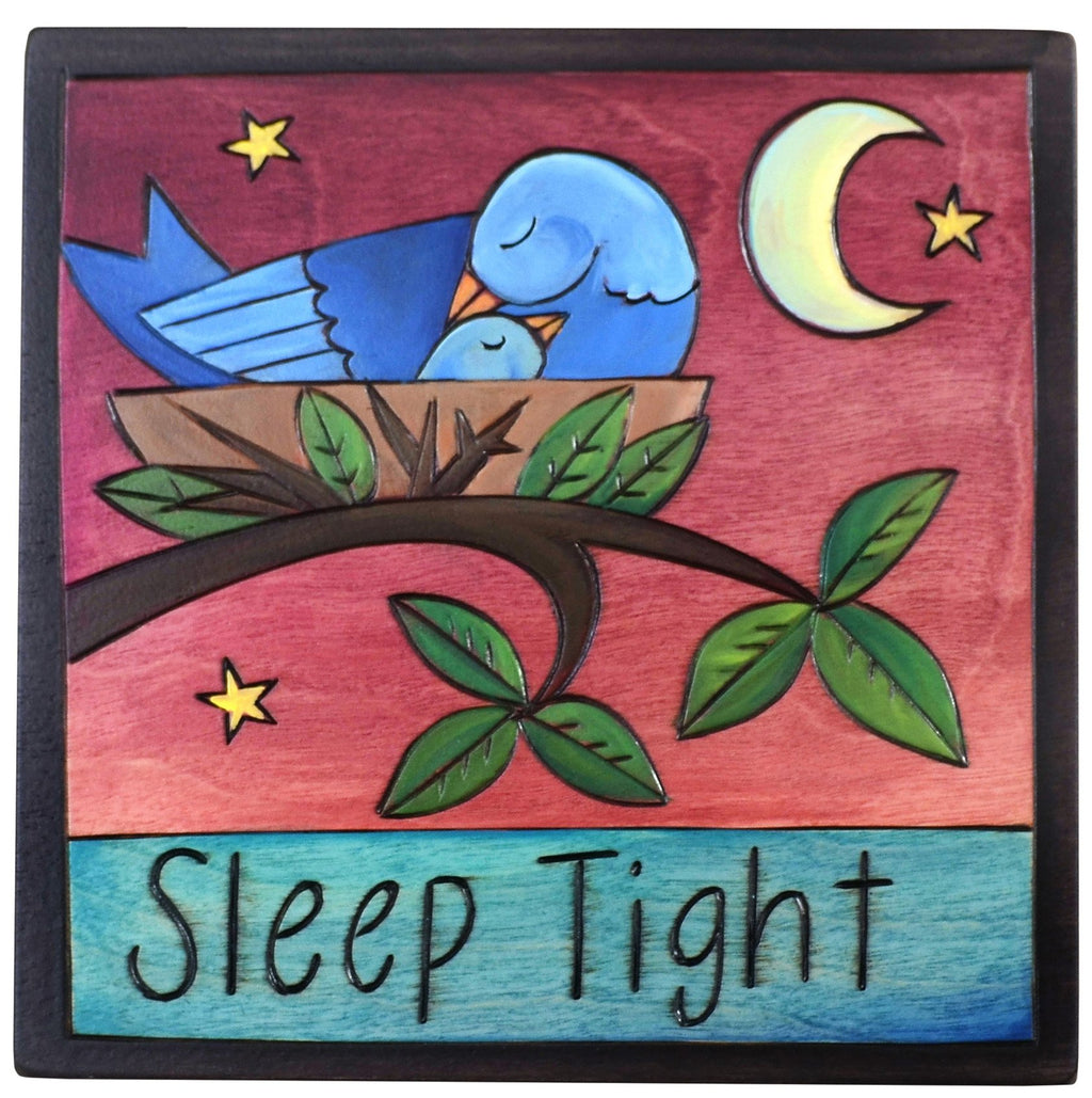 "Sticks handmade wall plaque with ""Sleep Tight"" quote and cute bird nest at night"
