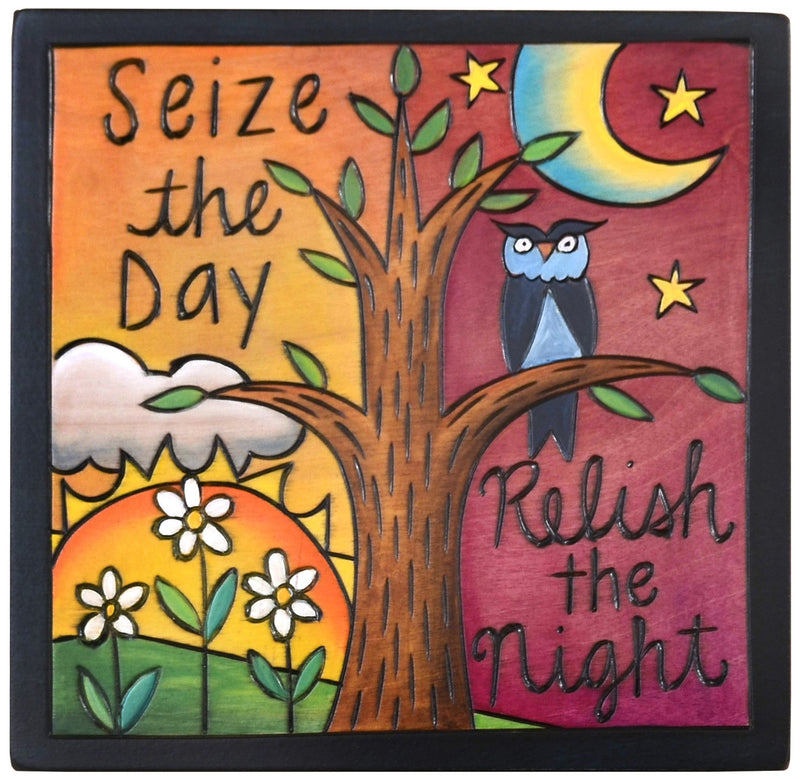 "Sticks handmade wall plaque with ""Seize the Day, Relish the Night"" quote, tree of life, owl and flowers"
