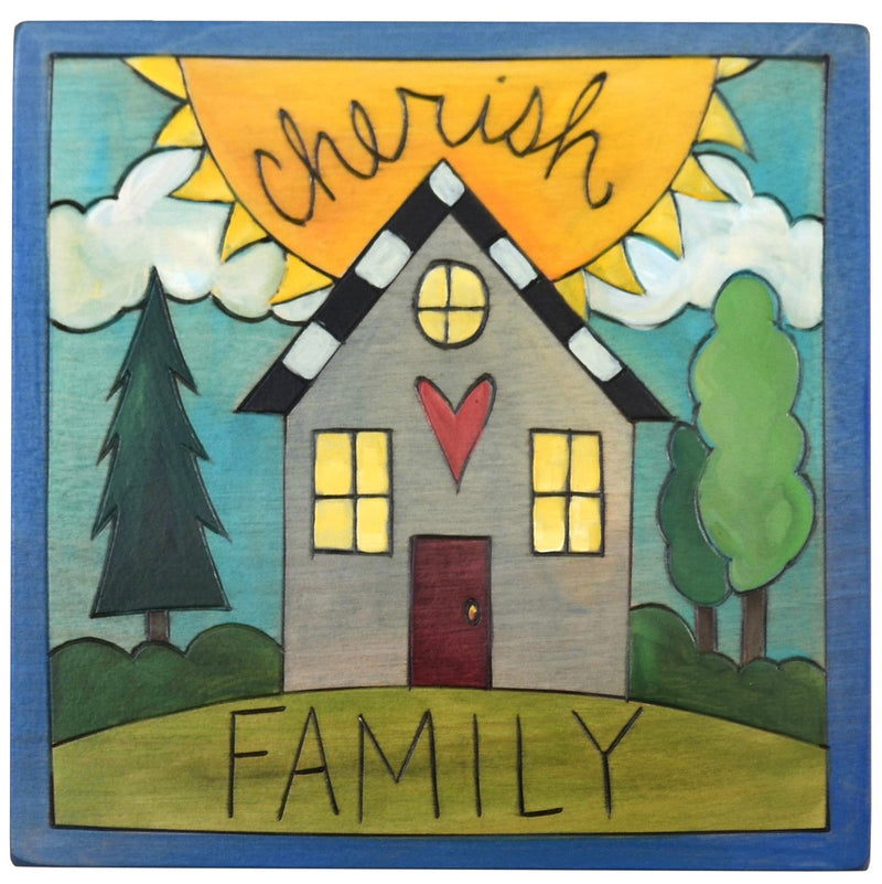 "Sticks handmade wall plaque with ""Cherish Family"" quote and heart home imagery"