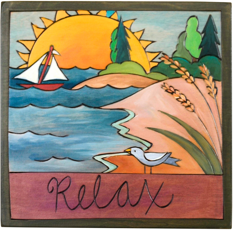 "7""x7"" Plaque –  ""Relax"" on a secluded coastal shoreline"
